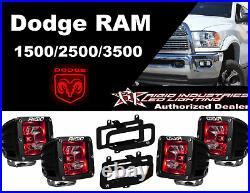 Rigid Radiance Pod Red & Fog Light Kit For 10-15 Ram 2500/3500 09-12 Ram 1500